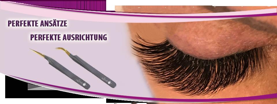 perfekte Ausrichtung der Wimpernverlängerung