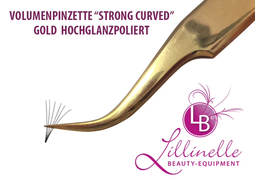 Volumenpinzette Strong curved Goldhochglanz Typ I