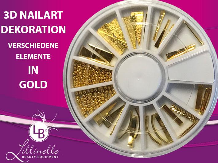 3D Nailart Dekoration verschiedene Elemente Gold