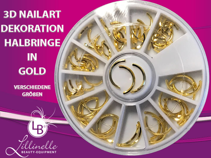 3D Nailart Dekoration Halbringe in Gold