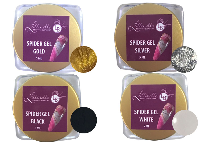 Spidergel in Gold Silber Black  White